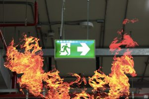 emergency fire exit with fire