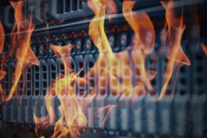 Flames over a data centre room server