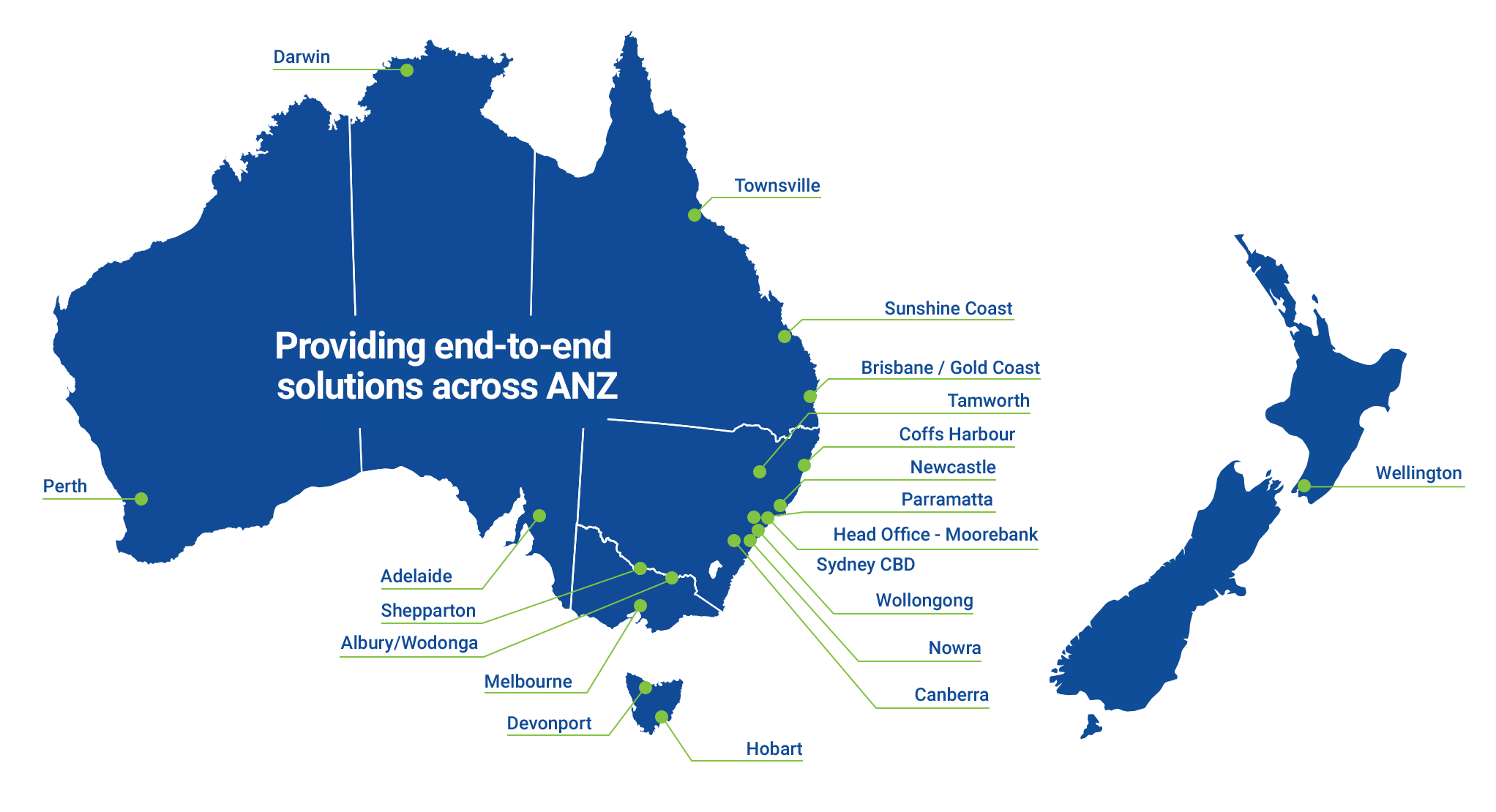 Map of Australia and New Zealand branch locations